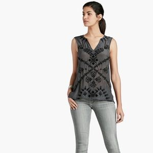 Lucky Brand Grey Embroidered Beaded Tribal Tank
